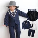 鋪棉連身衣 秋冬 厚款 學院風 外套 爬服 哈衣 男寶寶 小紳士 小花童 套裝 兩件組 Augelute Baby 60338