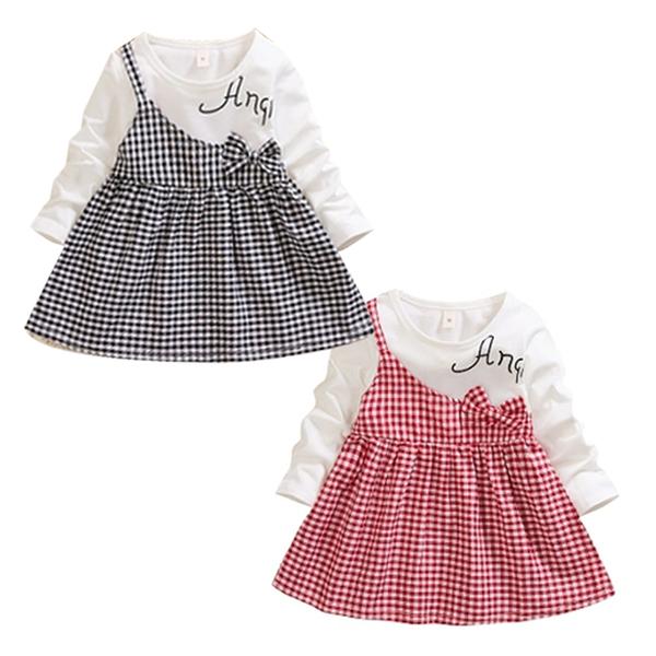 長袖洋裝 紅黑方格 假兩件連身裙 女寶寶 氣質典雅 童裝 SG1057 好娃娃