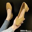 尖頭飛織單鞋女夏季新款法式淺口氣質小皮鞋...