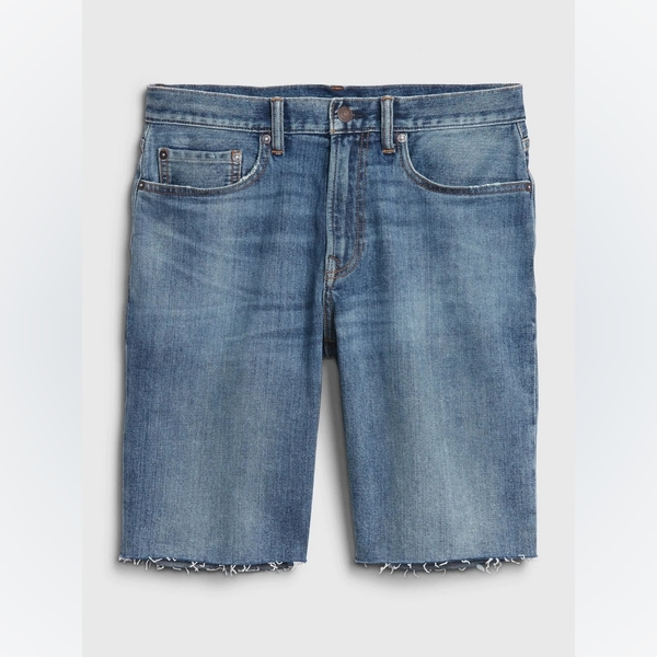 Gap男裝時尚做舊水洗牛仔短褲536739-中度靛藍