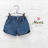 復古百搭車線牛仔短褲女童美式 單寧短褲假口袋鬆緊腰