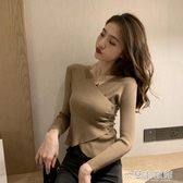 針織上衣 秋裝年新款女長袖v領性感修身毛針織打底衫內搭上衣秋冬短款 快速出貨