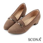 SCONA 蘇格南 優雅舒適尖頭低跟鞋 可可色 31035-2
