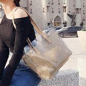 大包包女新款夏季透明果凍編織斜背包小清新韓版帆布潮容量包 草莓妞妞