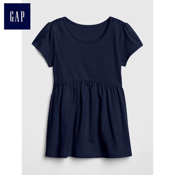 Gap女嬰幼童 純棉純色圓領短袖T恤 小童夏裝兒童洋氣上衣 430252-藏青色