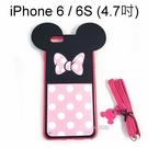 迪士尼大耳皮背蓋 iPhone 6 / 6S (4.7吋) 米妮蝴蝶結 附頸繩【Disney正版授權】