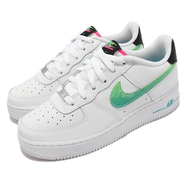 Nike 休閒鞋 Air Force 1 LV8 GS 白 綠 女鞋 大童鞋 AF1 【ACS】 DJ5154-100