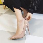 2018新款10cm裸色尖頭高跟鞋女細跟中跟淺口百搭單鞋女早春高跟鞋