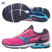 美津濃 MIZUNO  女跑鞋  WAVE RIDER 21  (螢光粉/水藍)  寬楦  雲波浪款路跑鞋 J1GD180323【 胖媛的店 】