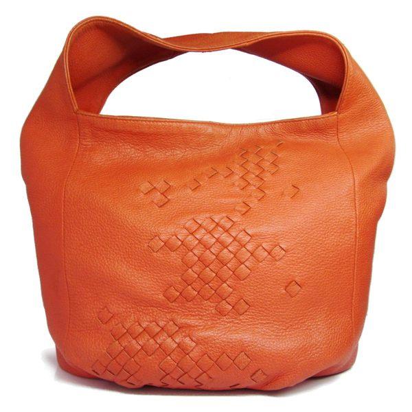 BOTTEGA VENETA BV 橘色編織羊皮單肩肩背包 【BRAND OFF】
