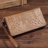 真皮包夾 大容量 長款錢包 鱷魚紋手拿包 【非凡上品】X1344