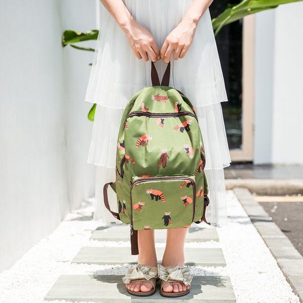 《159元專區》韓風可愛動物防潑水可摺疊旅行收納後背包-綠