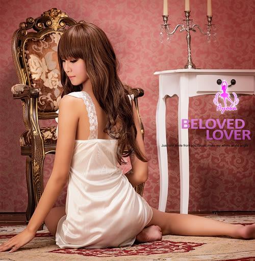 歐式典雅!柔緞刺繡花邊睡襯衣#白 -邱比特情趣用品(性感睡衣)
