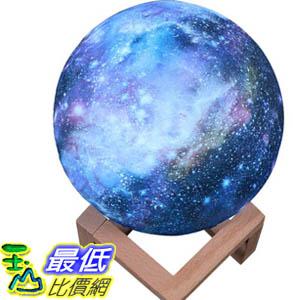 [9大陸直購] 月球燈 兒童禮品創意檯燈 彩繪星空LED 3D小夜燈 20cm拍拍七彩