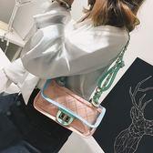 小包包女透明菱格單肩包正韓繡線鏈條百搭斜背包小方包側背包