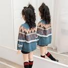 兒童毛衣女童秋裝針織外套 新款兒童仿貂絨...