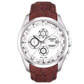 TISSOT 天梭 T-Trend 自動上鍊三眼計時皮帶手錶-銀白T0356271603100