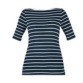 【南紡購物中心】Ralph Lauren 經典刺繡船領條紋五分袖上衣-深藍