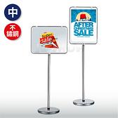 不鏽鋼管雙面告示牌(中-銀) 標示指示 公布佈告 展示海報 廣告立牌