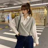 秋季寬鬆V領外穿馬夾洋氣灰色短款針織馬甲外套女【小酒窩服飾】