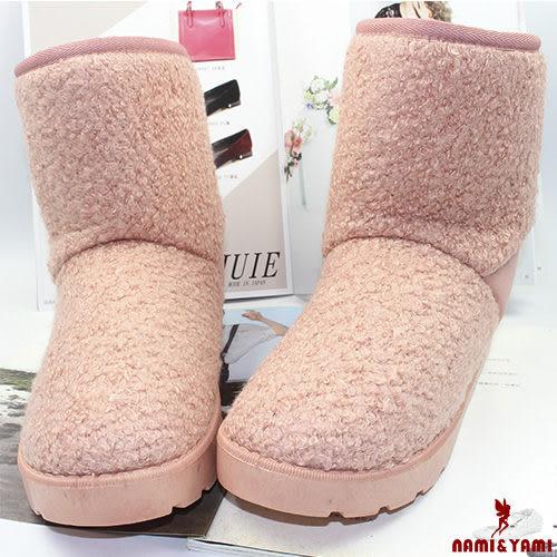 【Nami&Yami】甜美絨面後跟蝴蝶結雪靴(粉紅)