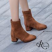 韓系時尚個性絨面方跟短靴/3色/35-41碼 (RX0157-H31-5) iRurus 路絲時尚