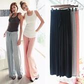 夏新款寬鬆大碼闊腿褲裙褲莫代爾薄款運動瑜伽家居褲大擺長褲子