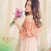 東京著衣【YOCO】活力女孩一字領雲朵繡花領片綁帶上衣-S.M.L(180399)