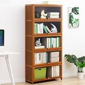 透明翻門書櫃五層70CM 翻門置物櫃 有門收納櫃 木質展示櫃【Y10126】快樂生活網