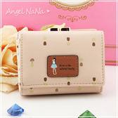 (都有現貨)女皮夾AngelNaNa 日系風 森林系女孩 可愛玫瑰印花  短夾。另有長夾(SMA0109)