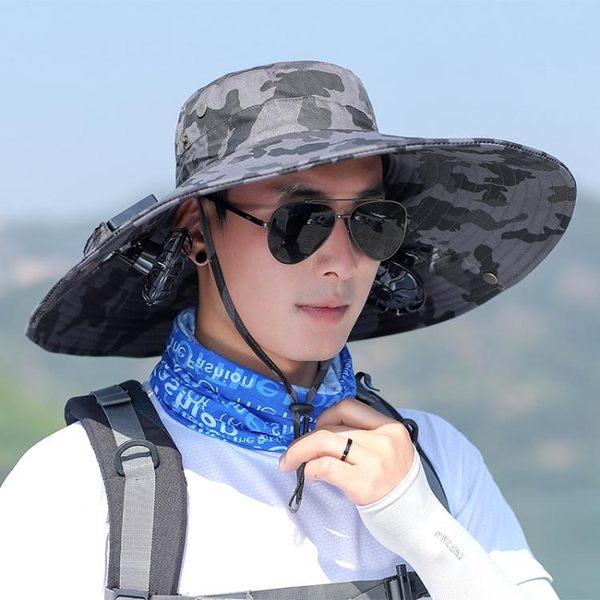 大陽能風扇帽男夏季戶外防紫外線釣魚防曬帽大簷透氣遮陽帽漁夫帽  魔法鞋櫃
