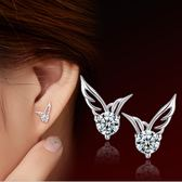 耳環 閃耀翅膀鋯石 925銀針 抗過敏 耳環 甜星飾品