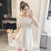 一字领洋装 一字肩洋裝小清新2021夏季新款收腰顯瘦氣質超仙小個子心機裙子