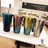 韓版漸變不銹鋼咖啡吸管杯創意菱形男女學生帶蓋大容量杯隨手水杯  麥琪精品屋