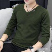 秋冬季新款韓版修身針織衫V領套頭寬鬆毛衣休閒長袖打底衫男百搭