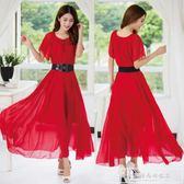 加肥加大裙子2018夏裝新款韓版純色超大擺胖mm短袖長款連身裙『韓女王』