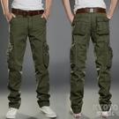 夏季薄款工裝褲男寬鬆直筒多口袋戶外運動休閒軍迷彩耐磨工作長褲 快速出貨