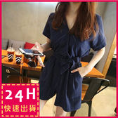 梨卡★現貨 -夏日海邊沙灘條紋短袖連身褲連身短褲B876