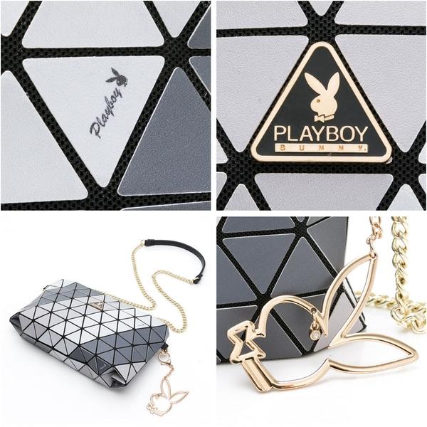 PLAYBOY- 鏈帶斜背包 百變三角系列-黑色