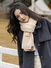 韓版素色針織毛線圍巾女秋冬季保暖ins學...