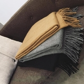 圍巾 韓版純色流蘇學生百搭仿羊絨圍巾加厚男女冬季保暖長款披肩兩用黑