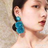 歐美夸張長款白色立體大花朵女花瓣亮片氣質度假耳環耳釘耳夾 DN20001『寶貝兒童裝』