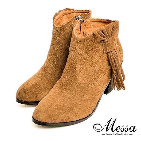 【Messa米莎專櫃女鞋】帥氣中性西部風流蘇麂皮粗跟短靴-卡其色