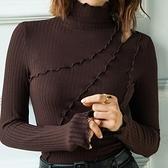 長袖T恤-鏤空破洞高領純色女打底衫4色73za27【巴黎精品】