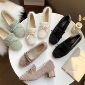 毛毛鞋 白色高跟鞋女冬2019新款一腳蹬毛毛鞋粗跟外穿百搭網紅加絨豆豆鞋35-39碼 3色
