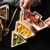 北歐創意竹木聖誕樹果盤家用餐具托盤陶瓷點心盤水果沙拉盤零食盤  居家物語
