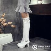 過膝靴蕾絲彈力瘦腿騎士靴高跟女鞋 Xgpj53