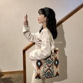 復古百搭針織單肩側背包包 撞色格子格紋【聚可愛】