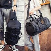 降價兩天-健身包斜背包正韓尼龍布圓筒包包時尚後背包男女斜挎旅行包手提健身背包運動潮