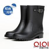雨靴 經典百搭帥氣飾釦中筒雨靴(黑) *0101shoes【18-A308bk】【現貨】